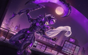 Wallpaper the moon, Scorn of the Moon, the full moon, night, girl city, Diana, League of ...