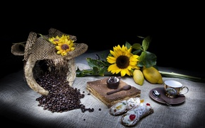Picture cake, Flowers, cup, beans, coffee, cream, dessert, bag, sunflowers, cannoli