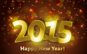 Wallpaper sparkle, Happy, 2015, New Year, New Year, gold