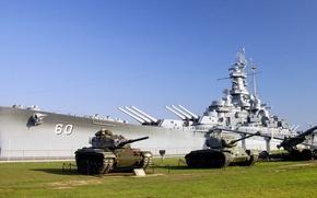 Wallpaper lawn, tanks, battleship, uss alabama, Museum