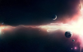 Picture stars, light, wave, planet