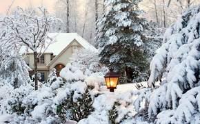 Picture winter, the sky, snow, trees, landscape, nature, house, Park, garden, lantern, house, white, sky, trees, ...