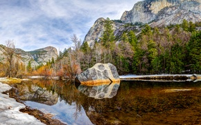 Picture the sky, clouds, trees, mountains, lake, stone, Yosemite, National Park, Mirror Lake
