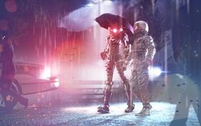 Picture asphalt, light, rain, astronaut, the evening, umbrella, the suit, walk, Big Sister
