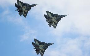 Picture the sky, the plane, fighter, Multipurpose, fifth generation, supersonic, Vladislav Perminov, PAK-FA T-50