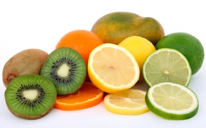 Picture lemon, orange, kiwi, lime, fruit, mango