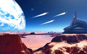 Picture sky, desert, mountains, stars, planet, spaceships, mars