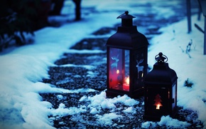Picture winter, snow, background, widescreen, Wallpaper, patterns, mood, tree, flashlight, lantern, wallpaper, widescreen, background, full screen, …