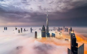 Picture Clouds, Dubai, Smoke, Burj Khalifa, Skyscraper, Foggy