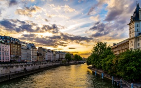 Picture sunset, river, France, home, channel, France, Houses, Rivers