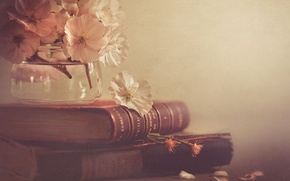 Picture style, books, flowers, Bank