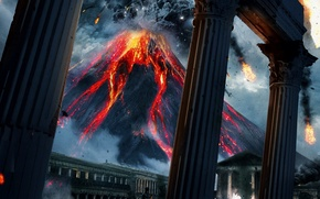Picture ash, fire, the volcano, the eruption, lava, columns, antique, Vesuvius, Kit Harington, The Roman Empire, …