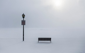 Picture winter, frost, lantern, the snow, bench, ban