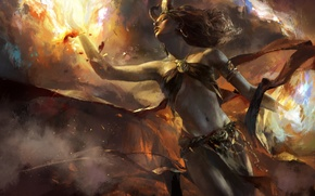 Picture fiction, fire, art, horns, demoness, demoness