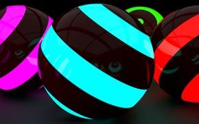 Picture reflection, neon, Balls, render, neon, neon lights