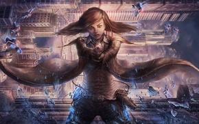Picture girl, the city, gun, fiction, skyscrapers, cloak, cyberpunk, antigravity