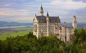 Picture trees, castle, Germany, valley, Bayern, panorama, Germany, Bavaria, Neuschwanstein Castle, Neuschwanstein Castle