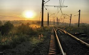 Wallpaper Railroad, Home, Wire, Fog, The sun, The way