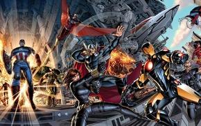Picture Iron Man, Black Widow, Marvel, Marvel, Avengers, The Avengers, Captain America, Spider-Man, Thor