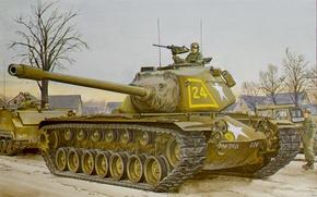 Picture war, art, painting, tank, M103 heavy tank