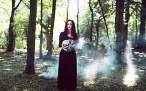 Picture girl, smoke, skull, Smoke and Bone