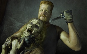 Picture look, knife, zombies, The Walking Dead, The walking dead, Michael Cudlitz, Abraham
