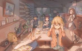 Picture Anime, Art, cafe., kyoukai no kanata, Hiromi, NASA, Mirai Kuriyama, Akihito Kambara, Mitsuki, Nase