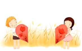 Picture love, flowers, boy, spikelets, girl, heart, smile, baby Wallpaper