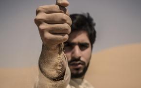 Picture sand, macro, hand, portrait