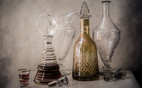 Wallpaper still life, bottle, glass, pitcher, decanter