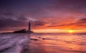 Picture sea, sunset, lighthouse, England, United Kingdom, Whitley Bay