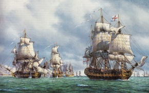 Picture oil, picture, bursts, battle, sails, flags, painting, canvas, sea, sailboats, rigging, cores, pennant, tackle