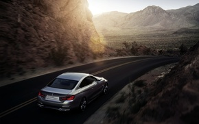Picture Concept, Sunset, Road, Mountains, BMW, Silver, coupe, 4 series
