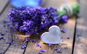 Picture table, bouquet, heart, lavender