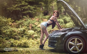 Wallpaper girl, the hood, car, girl, tattoo, tattoo, tattoo model, tattoo model, Eric Liyah Kane
