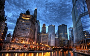 Picture the sky, bridge, the city, river, overcast, building, home, skyscrapers, the evening, Chicago, USA, USA, …