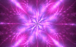 Picture flower, rays, abstraction, background, star, glow, purple, fractal