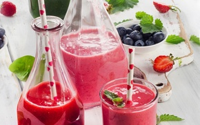 Picture glass, berries, bottle, food, cocktail, drinks
