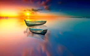 Picture the sun, lake, reflection, boats