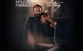 Picture stars, red, red, France, a man and a woman, sting, sting, farmer, mylene farmer, Mylene