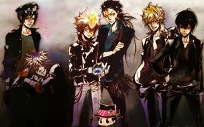 Picture flame, gloves, guys, cap, mafia, katekyo Hitman reborn, reborn, arcobaleno, byakuran, tsunayoshi sawada, xanxus, mukuro …