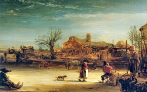 Wallpaper picture, genre, Winter Landscape, Rembrandt van Rijn