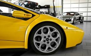 Picture yellow, Audi, audi, Lamborghini, wheel, disk, chrome, diablo, yellow, rim, Lamborghini, Diablo, chrome