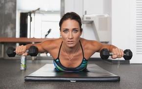 Wallpaper fitness, pose, dumbbells, workout, look