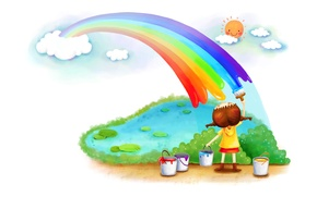 Picture paint, rainbow, girl