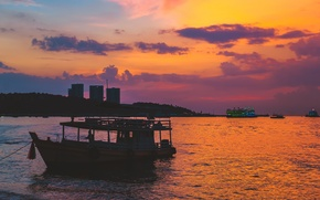 Picture sand, sea, beach, the sky, water, sunset, stay, paint, island, beautiful, summer, Thailand, sea, sunset, …