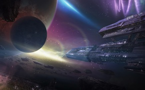 Picture space, nebula, planet, ships, station, art, meteorites