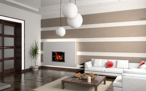 Picture design, style, fireplace, sofa, salon, table, Interior, living room