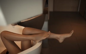 Picture girl, pose, feet, bath