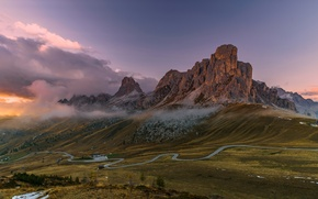 Picture road, clouds, mountains, rocks, Italy, The Dolomites